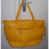 Bolsa Feminina Amarela Fashion Haute Sintética Tamanho 44x29
