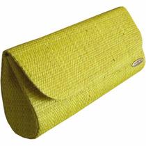 Clutch Bolsa Carteira De Mão Em Palha Cores Amarela Grande