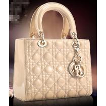 Bolsa Christian Dior Lady Di Bege Original Na Caixa Em Couro