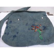 Bolsa Em Jeans C/ Bordados Em Canutilhos