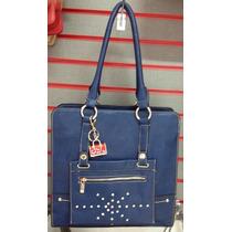 Bolsa Feminina Couro V-love Vogue Azul + Bolsa Pq E Carteira