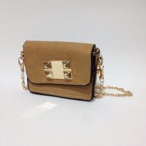 Bolsa Pequena Com Alça De Corrente Nude Dourado