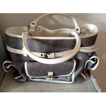 Bolsa Cinza E Branca Com Varios Compartimentos