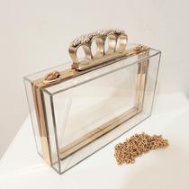 Bolsa De Festa Clutch Dourada Acrilico Transparente C/strass