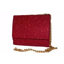 Bolsa Clutch Luxo Vermelha Com Glitter Modelo Glamour