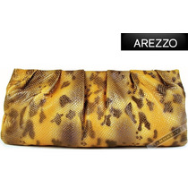Bolsa Arezzo Clutch Amarela Marrom Mão Couro Legítimo Nova