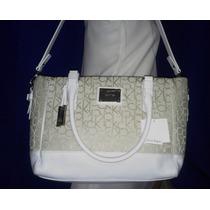 Bolsa Calvin Klein Branca Creme Em Couro- Importada Grande
