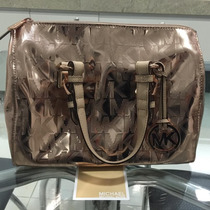 Bolsa Michael Kors Signature Mirror Metallic Satchel Bag