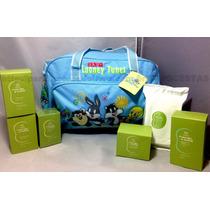Bolsa C/ Trocador Baby Azul Menino + Kit Natura Mamãe E Bebê