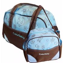 Kit Bolsa E Frasqueira Maternidade Bebê Azul Color Baby