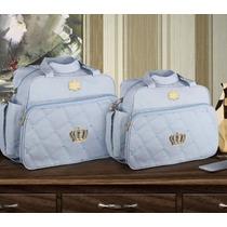 Kit Bolsa Maternidade 2pçs Coroa Azul Bebê *brinde Trocador
