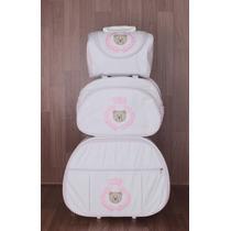 Kit Mala Maternidade 3 Peças ( Mala Com Rodinhas) Branca