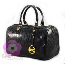 Bolsa Feminina Importada Bauzinho + Relogio Dourado Mk