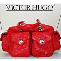 Bolsa Victor Hugo Margot Rubi Couro Vermelha Ouro Original
