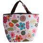 Bolsa Sacola Térmica Marmita Picnic Floral - 23x34x14 Cm