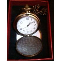 Relógio Quartz De Bolso C/tampa Cor Dourado Envelhecido