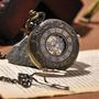 Relógio De Bolso Mecanismo A Corda Skeleton Unique Vintage