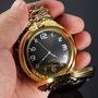Relógio De Bolso Dourado Quartz Com Corrente E Clip