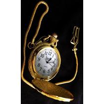 Lindo Relógio De Bolso Vintage Dourado Com Tampa Trabalhada