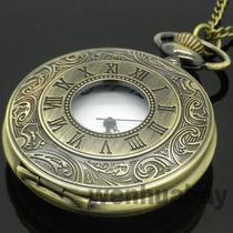 Relógio De Bolso Clássico Vintage Bronze Romano Com Corrente