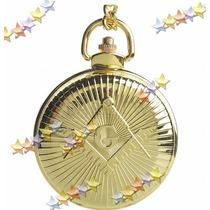 Relógio De Bolso Dourado Com Gravura Da Maçônaria