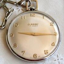 Relógio De Bolso Classic 17 Rubis - Colecionador!!