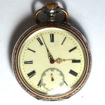 Relógio De Bolso A Corda Antigo Alemão Suíço Prata S Jorge