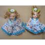 Par Mini Bonecas Damas Antigas Porcelana Corpo Articulavel