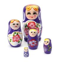Matrioska Russa Madeira 05 Bonecas Pintado A Mão