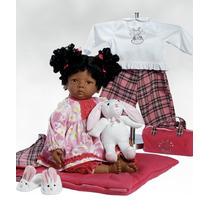 Boneca Bebê Reborn Silicone Vinil Negra Afro Pronta Entrega