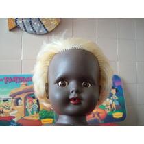 Boneca Bebê Negra Antiga Importada Itália Borracha Plástico