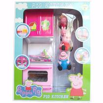 Kit De Cozinha Da Peppa Pig + 4 Personagens Miniatura Brinde