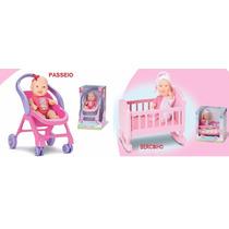 Boneca Bebê Miudinha Diver Toys - Bercinho E Passeio