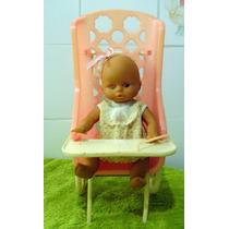 Antiga Boneca Bebê 23cm Com Carrinho Rosa