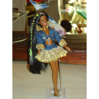 Boneca Barbie Negra, Tatuada, Cabelos Longo Rara