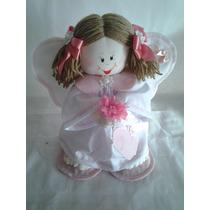 Boneca De Pano Artesanal Anjo Guarda Menina Decoração