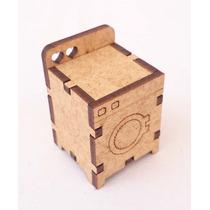 Maquina De Lavar Roupas 26 - Móveis -miniaturas - Mdf Crú
