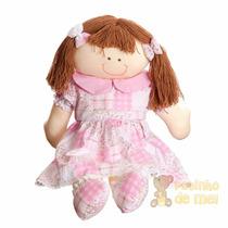 Boneca De Pano Artesanal Berço Menina Rosa Bebê Infantil
