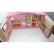 Casa Casinha De Boneca Barbie Polly Maleta + Brinde Móveis!