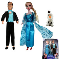 Kit Com Bonecas Frozen Elsa Anna Kristoff Hans + Olaf