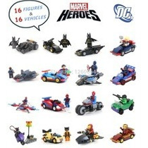 Super Heroes 16 Minifiguras + 16 Carros Compatível Lego