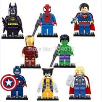 Kit Com 8 Vingadores Lego / Batman / Super Man / Thor