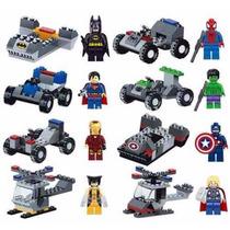 Bonecos De Montar Super Heróis Com Veículos Kit Com 8