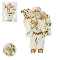 Papai Noel Branco 30 Cm Branco Dourado Decorativo P Natal A1