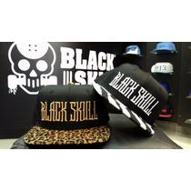 Bone Snapback Aba Reta Black Skl Veludo Animal Print