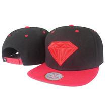 Boné Aba Reta Diamond Supply Co. Snapback Preto E Vermelho