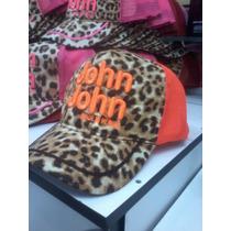 Boné John John Feminino * Onça * Letras Bordado Laranja