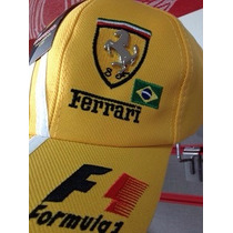 Bone Ferrari Escuderia Formula 1 Amarelo Novo Aba Curva