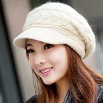 Boné Feminino Gorro Em Lã De Algodão Branco