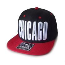 Boné Black Bulls Chicago Preto Aba Reta Snapback Qualidade